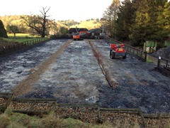 Refurbishment of arena, drains, limestone, geotextile and surface